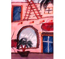 2 story Spanish style Old house, watercolor Photographic Print