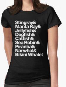 B-52's Stingray & Bikini Whale! Rock Lobster Threads Womens Fitted T-Shirt