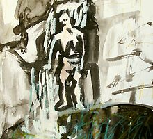 waterfall with figure by donnamalone