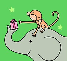 Birthday Monkey and Elephant Friend  by zoel