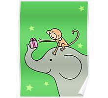 Birthday Monkey and Elephant Friend  Poster