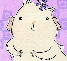 Guinea-pig Girl with Violet Flower by zoel