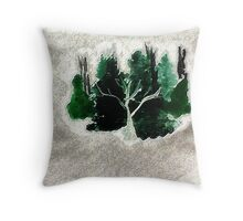 Collection of trees for Christmas, waterclor Throw Pillow