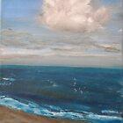Beach - realist oil on canvas, seascape by Nicla Rossini