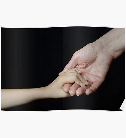 Senior woman holding little girl's hand Poster