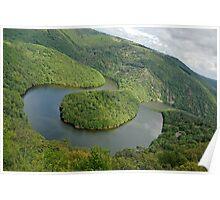 Queille meander Sioule River, France, Auvergne,  Poster