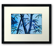 blue geometric bamboo Framed Print