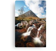 Mountain waterfall, Glencoe Canvas Print