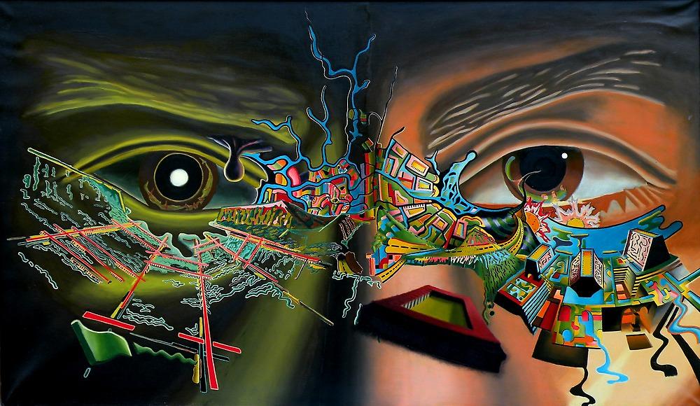 "Surrealism's Bridge - oil on canvas - 48"" x 28"" by Dave Martsolf"