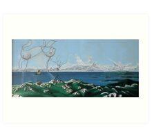 "Surreal Feminine Landscape - oil on canvas - 60"" x 28"" Art Print"