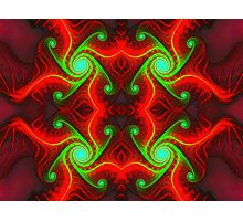 Green Swirls on Red Photographic Print