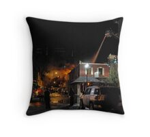 City Cafe Fire Night Shot #1 Throw Pillow