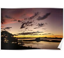Brown, rose and gold sunset Poster