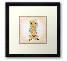 Hand drawn  illustration of cartoon yoga girl in lotus position. Framed Print