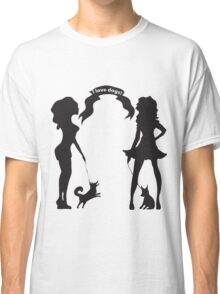 Hand drawn black and white silhouette a glamour girls with a little dog and words I love dogs. Classic T-Shirt