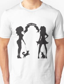 Hand drawn black and white silhouette a glamour girls with a little dog and words I love dogs. T-Shirt