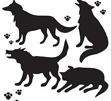 Hand drawn sketch set of wolves silhouettes on white background. by TrishaMcmillan