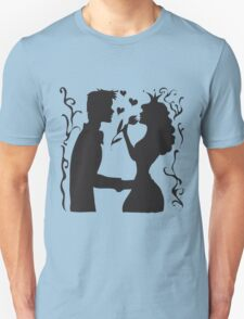 Hand drawn sketch black and white silhouette a princess with a tulip and a prince. Unisex T-Shirt