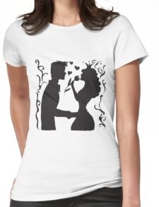 Hand drawn sketch black and white silhouette a princess with a tulip and a prince. Womens Fitted T-Shirt