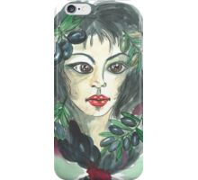 Hand drawn water color illustration a greece girl with black long hair and olives. iPhone Case/Skin