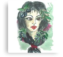 Hand drawn water color illustration a greece girl with black long hair and olives. Canvas Print