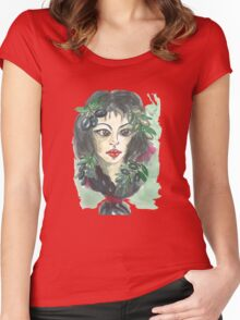Hand drawn water color illustration a greece girl with black long hair and olives. Women's Fitted Scoop T-Shirt