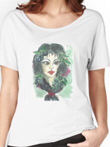 Hand drawn water color illustration a greece girl with black long hair and olives. Women's Relaxed Fit T-Shirt