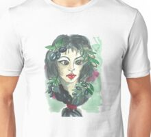 Hand drawn water color illustration a greece girl with black long hair and olives. Unisex T-Shirt