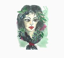 Hand drawn water color illustration a greece girl with black long hair and olives. T-Shirt