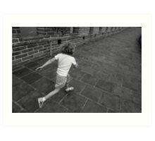 Girl running away on Great Wall of China Art Print