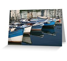 Fishing boats in the harbour Greeting Card