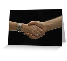 Man and woman shaking hands Greeting Card