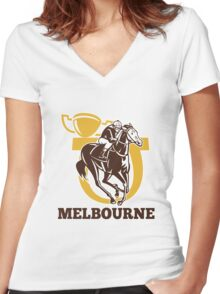 horse race jockey racing champion cup Women's Fitted V-Neck T-Shirt