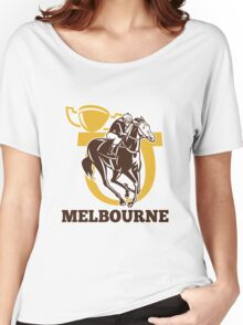 horse race jockey racing champion cup Women's Relaxed Fit T-Shirt