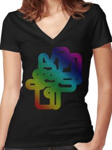 Vintage Rainbow Vector Wave Women's Fitted V-Neck T-Shirt