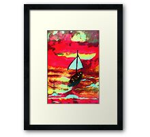 Sunset in a sail boat, watercolor Framed Print