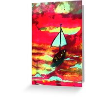 Sunset in a sail boat, watercolor Greeting Card