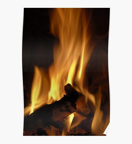 Flames of burning fire in fireplace Poster