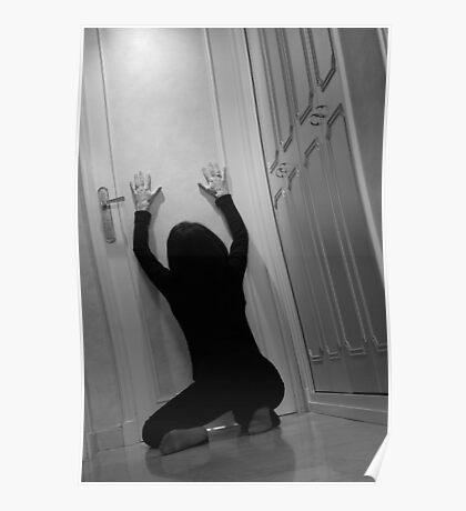 Woman kneeling in corridor with hands on closed door, asking for help Poster
