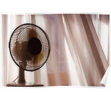 Electric fan beside apartment window with white curtains Poster