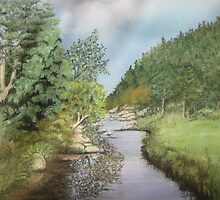 Soft Pastel Painting of the George River in North East Tasmania by minerva10