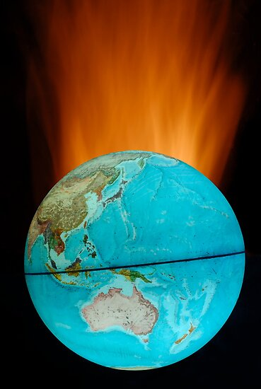 Globe with flames by Sami Sarkis
