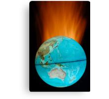 Globe with flames Canvas Print