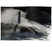 Waves breaking against rocks and beacon Poster