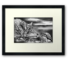 Charging Tortoise (With Wolf) Framed Print
