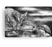Charging Tortoise (With Wolf) Canvas Print