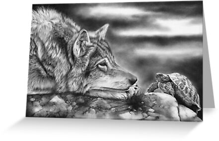 Charging Tortoise (With Wolf) by Peter Williams