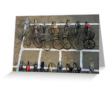 Bicycles parked on street Greeting Card