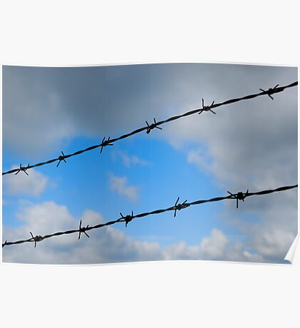 Barbed wires against cloudy sky Poster
