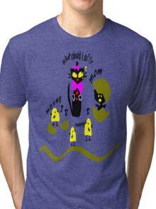 Funny kitty cat and bird vector art Tri-blend T-Shirt